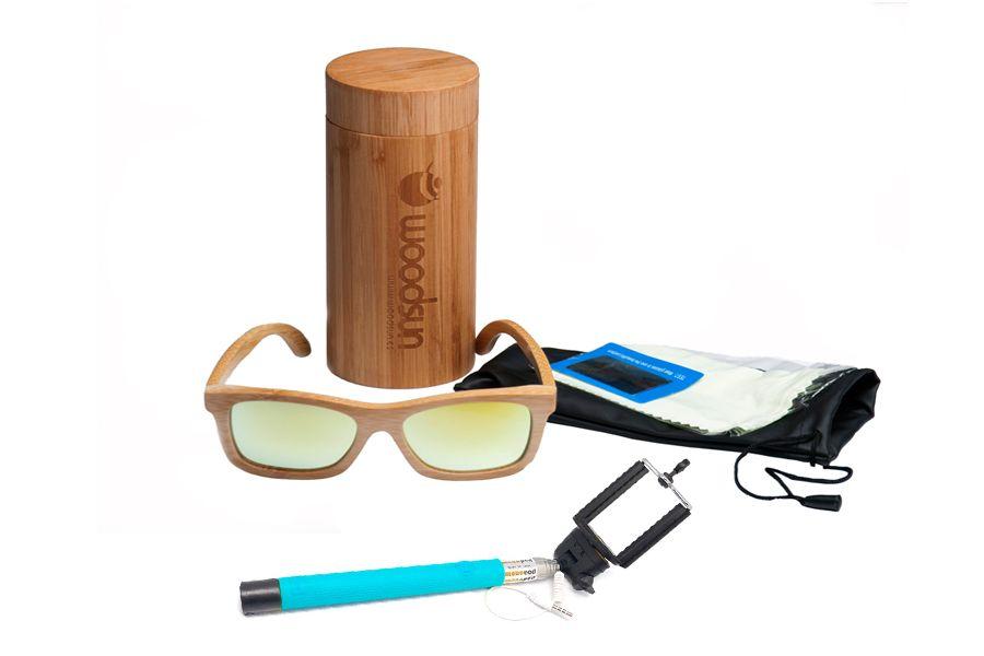 2bbd0fd27c Oferta Packs Gafas de sol de madera Natural de Bambú & Yellow lens más palo  selfies