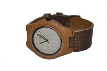 72f6c1bda985 Reloj de madera redondo con madera clara y cuero hombre