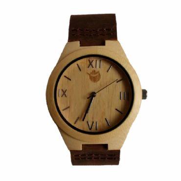 8dba7849eebd Reloj de madera redondo con madera de bamboo natural y cuero unisex