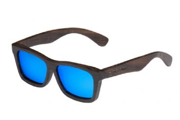 Gafas de sol de madera Natural Painted de ebony  & Blue lens